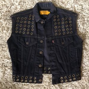 Custom vintage black jean jacket